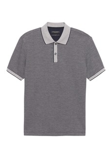 Banana Republic Slim Luxury-Touch Jacquard Tipped Polo