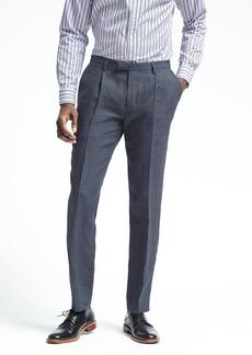 Banana Republic Slim Navy Houndstooth Linen Suit Trouser