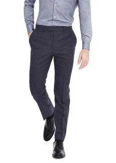 Banana Republic Slim Navy Plaid Wool Flannel Suit Trouser