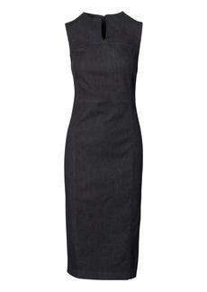 Slit-Neck Denim Sheath Dress