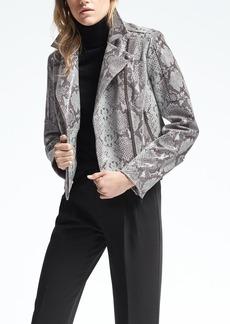 Snake-Effect Leather Moto Jacket