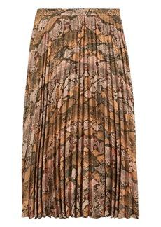 Banana Republic Snake Print Pleated Midi Skirt