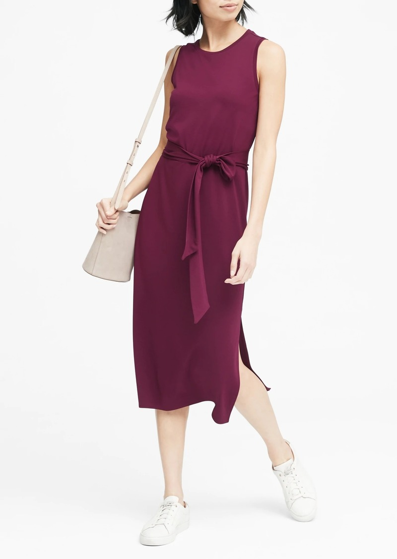 Banana Republic Soft Ponte Midi Dress with Side Slits