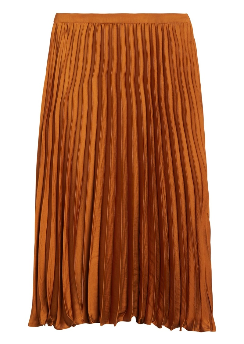 Banana Republic Soft Satin Pleated Midi Skirt