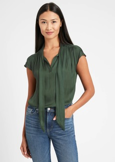Banana Republic Soft Satin Tie-Neck Top