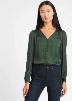 Banana Republic Soft Satin V-Neck Blouse