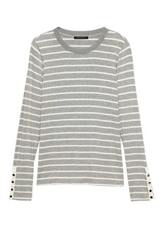 Banana Republic Soft Stretch Fitted Button-Sleeve T-Shirt