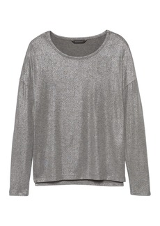 Banana Republic Soft-Stretch Long-Sleeve Metallic Relaxed T-Shirt