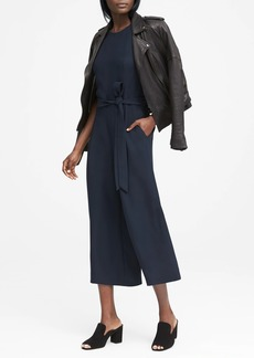 Banana Republic Solid Cropped Wide-Leg Jumpsuit