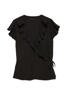 Banana Republic Solid Ruffle-Wrap Top