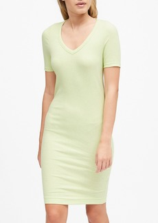 Banana Republic Spacedye Ribbed V-Neck T-Shirt Dress