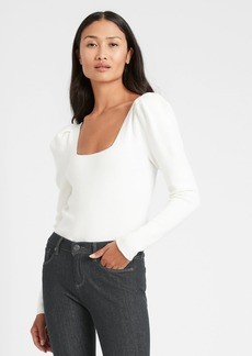 Banana Republic Square-Neck Puff-Sleeve Sweater Top