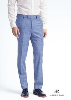 Banana Republic Standard Monogram Blue Plaid Wool Blend Suit Trouser