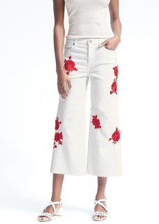Banana Republic Stay White Floral Embroidered Wide-Leg Crop Jean