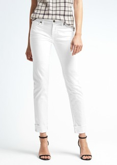 Stay White Fray Cuff Girlfriend Jean