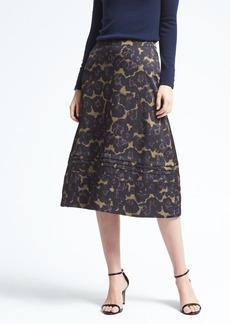 Banana Republic Stitched Floral Midi Skirt