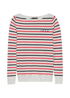 Banana Republic Stretch-Cotton Embroidered Boat-Neck Sweater
