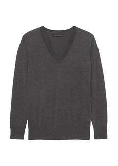 Banana Republic Stretch-Cotton V-Neck Sweater
