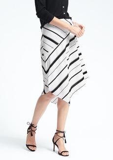 Banana Republic Stripe Asymmetrical Midi Skirt