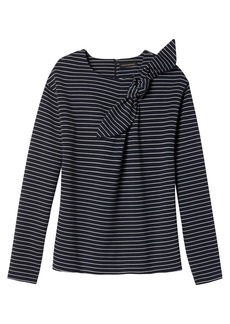 Stripe Bow-Neck Couture Sweatshirt