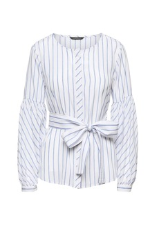 Banana Republic Stripe Bubble-Sleeve Top with Optional Tie at Waist