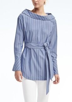 Banana Republic Stripe Button-Back Belted Shirt