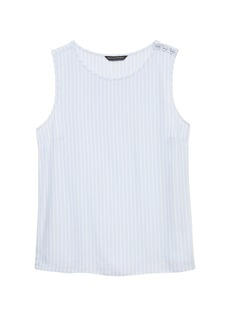 Banana Republic Stripe Button-Shoulder Shell