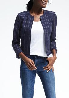 Stripe Collarless Boucle Jacket