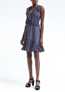 Stripe Cross-Flounce Fit-and-Flare Dress