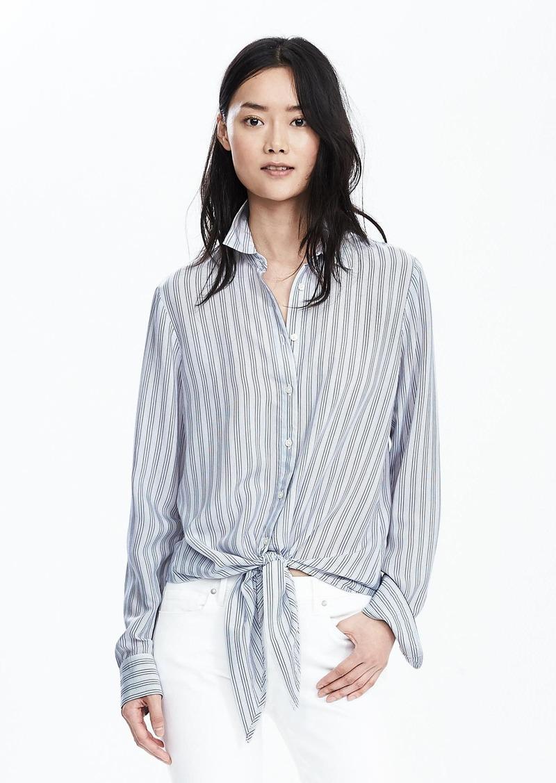 Banana Republic Stripe Drapey Tie-Front Shirt
