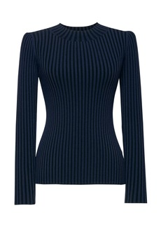 Banana Republic Stripe Fitted Ribbed Crew-Neck Sweater Top