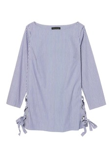Banana Republic Stripe Lace-Up Tunic With Grommet Details