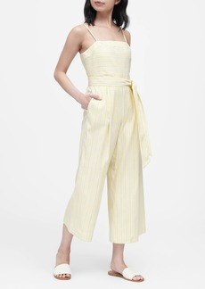 Banana Republic Stripe Linen-Cotton Cropped Jumpsuit