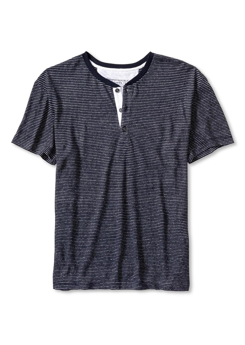 Banana Republic Stripe Linen Henley