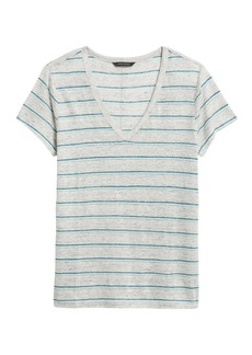 Banana Republic Stripe Linen V-Neck T-Shirt