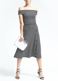 Stripe Off-Shoulder Midi Dress