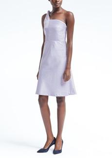 Stripe One-Shoulder Fit-and-Flare Dress