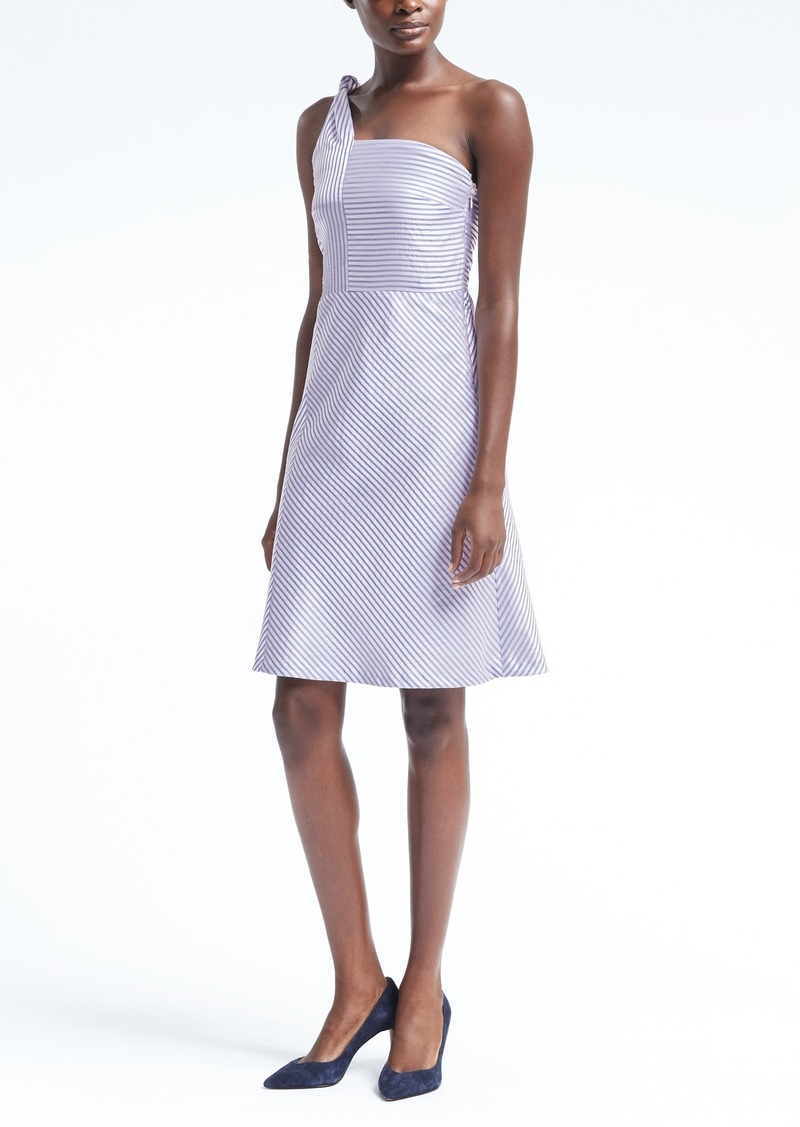 517333cc2e94c On Sale today! Banana Republic Stripe One-Shoulder Fit-and-Flare Dress