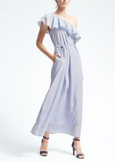 Stripe One-Shoulder Maxi Dress