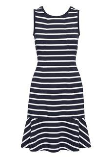 Banana Republic Stripe Paneled Ponte Fit-and-Flare Dress