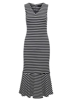 Banana Republic Stripe Ponte Flounce Midi Dress