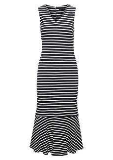 Banana Republic Stripe Ponte Flounce Midi Dress