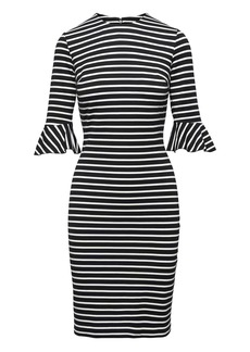 Banana Republic Stripe Ponte Flutter-Sleeve Sheath Dress