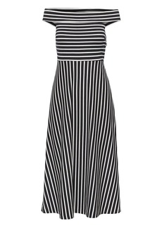 Banana Republic Stripe Ponte Off-the-Shoulder Dress