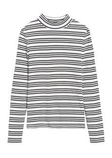 Banana Republic Stripe Ribbed Mock-Neck T-Shirt