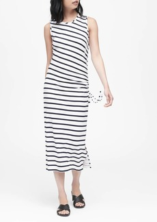 Banana Republic Stripe Ruched Midi Dress