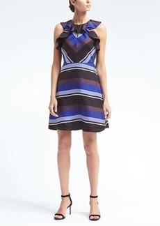 Stripe Ruffle Silk Dress