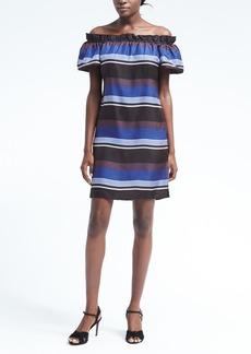 Banana Republic Stripe Silk Off-the-Shoulder Dress