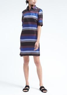 Stripe Silk Polo Dress