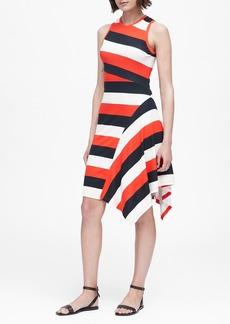 Banana Republic Stripe Soft Ponte Asymmetrical Dress